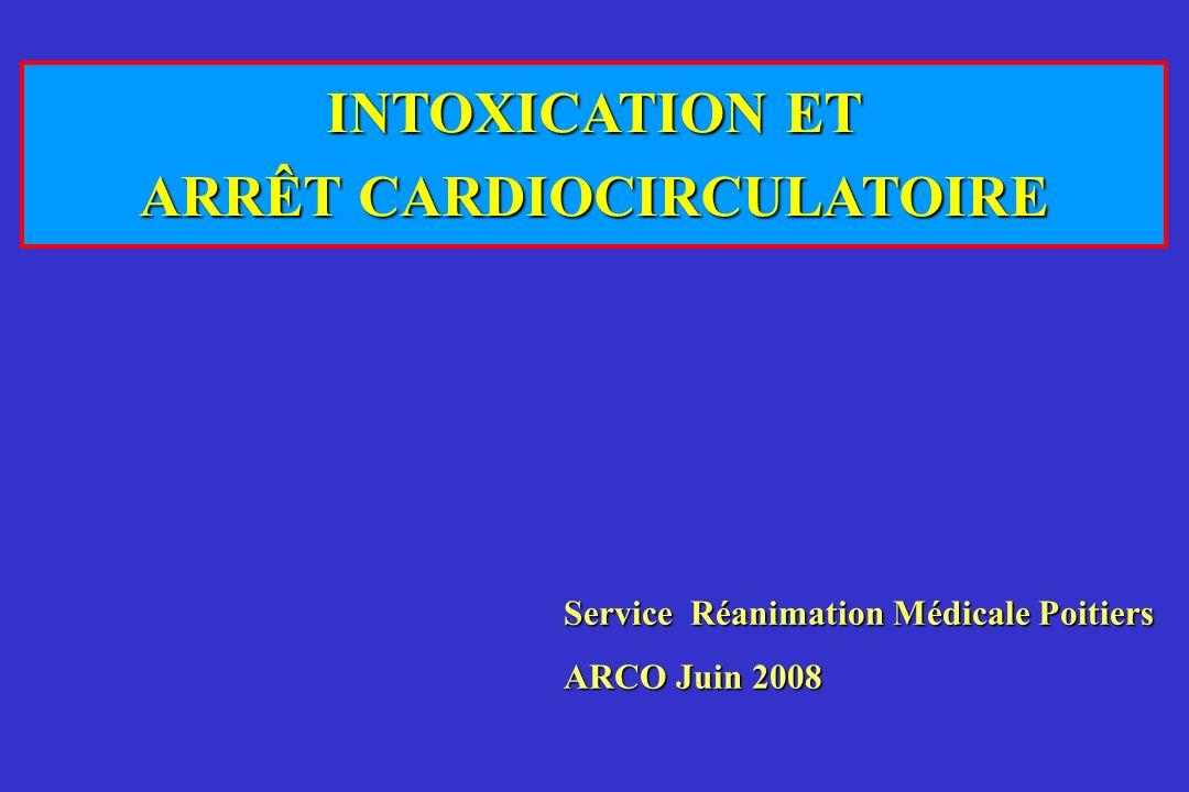 INTOXICATION ET ARRÊT CARDIOCIRCULATOIRE Service Réanimation Médicale Poitiers ARCO Juin 2008