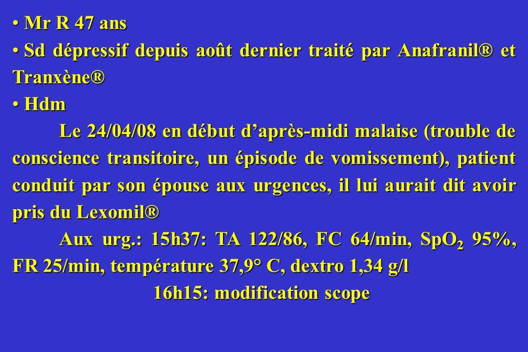 Mr R 47 ans Mr R 47 ans Sd dépressif depuis août dernier traité par Anafranil® et Tranxène® Sd dépressif depuis août dernier traité par Anafranil® et