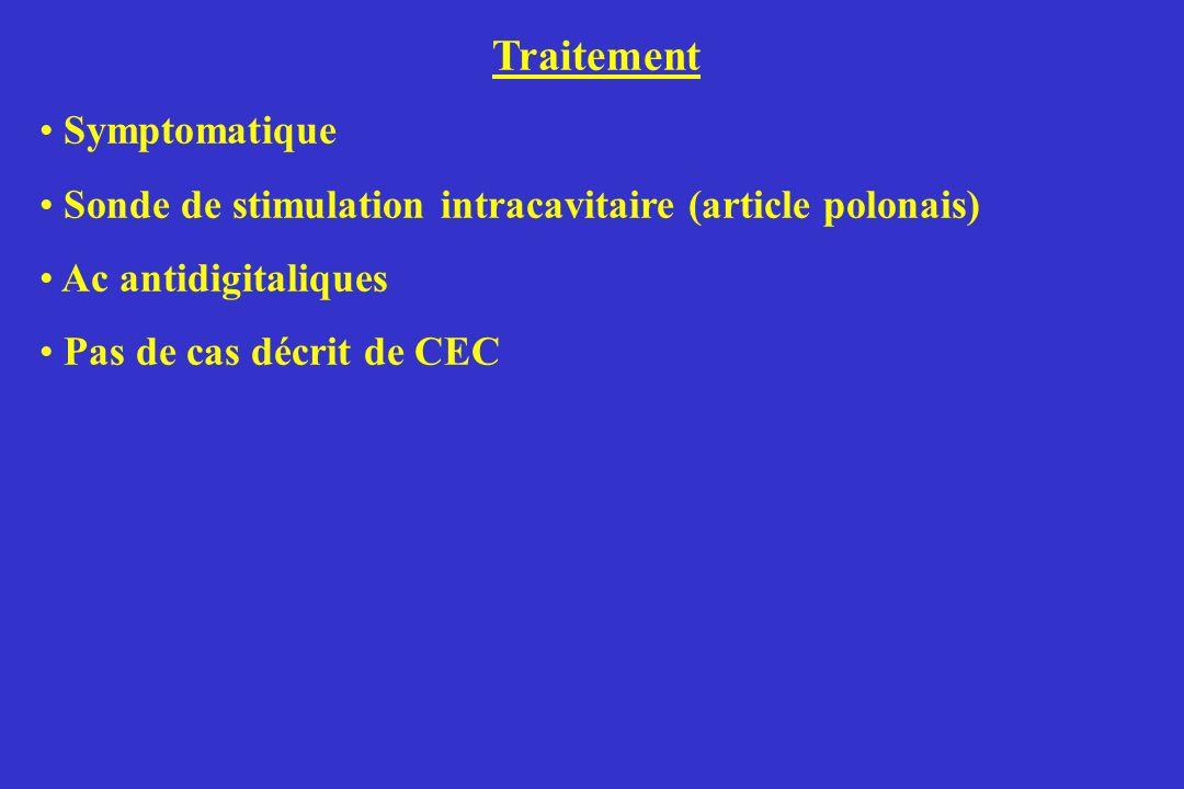 Traitement Symptomatique Sonde de stimulation intracavitaire (article polonais) Ac antidigitaliques Pas de cas décrit de CEC