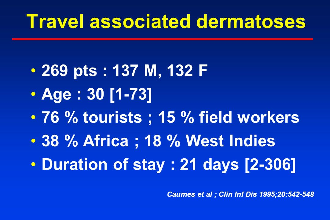 Travel associated dermatoses 269 pts : 137 M, 132 F Age : 30 [1-73] 76 % tourists ; 15 % field workers 38 % Africa ; 18 % West Indies Duration of stay : 21 days [2-306] Caumes et al ; Clin Inf Dis 1995;20:542-548