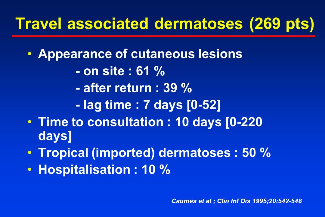 Travel associated dermatoses (269 pts) Appearance of cutaneous lesions - on site : 61 % - after return : 39 % - lag time : 7 days [0-52] Time to consultation : 10 days [0-220 days] Tropical (imported) dermatoses : 50 % Hospitalisation : 10 % Caumes et al ; Clin Inf Dis 1995;20:542-548