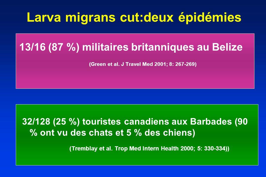 Larva migrans cut:deux épidémies 13/16 (87 %) militaires britanniques au Belize (Green et al. J Travel Med 2001; 8: 267-269) 32/128 (25 %) touristes c