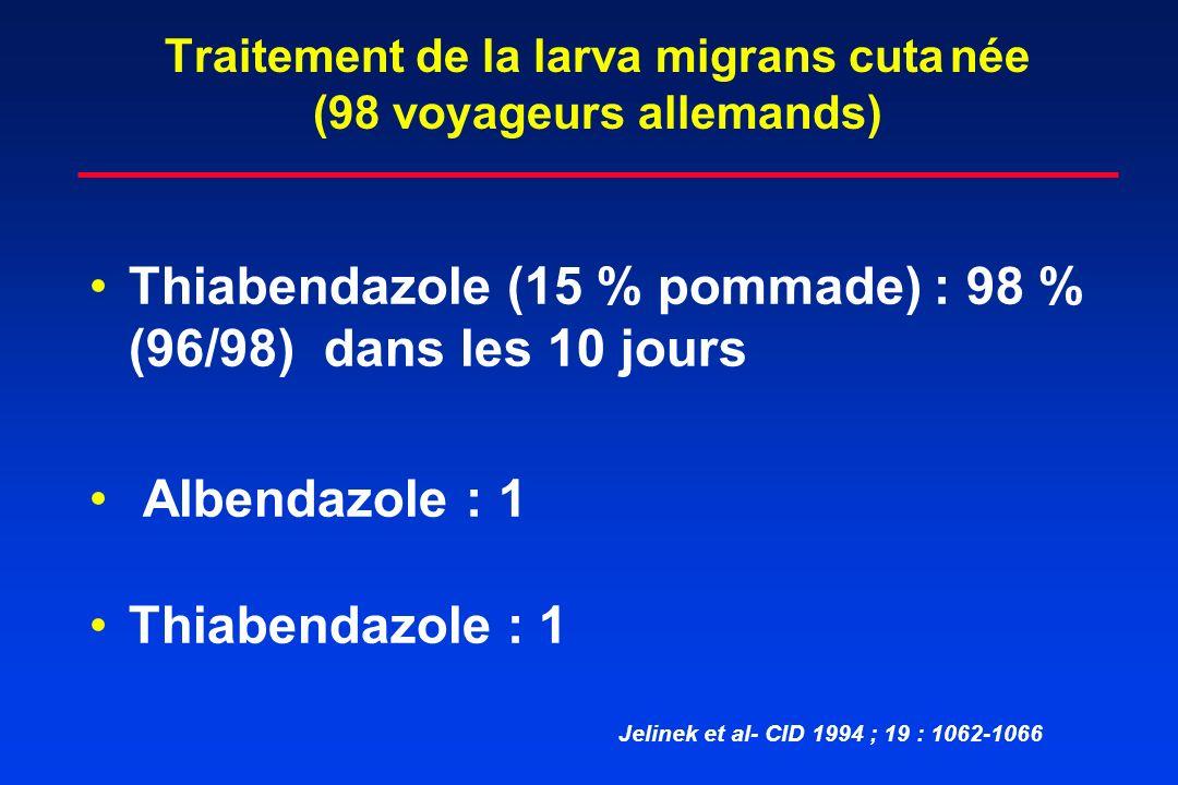 Traitement de la larva migrans cutanée (98 voyageurs allemands) Thiabendazole (15 % pommade) : 98 % (96/98) dans les 10 jours Albendazole : 1 Thiabend
