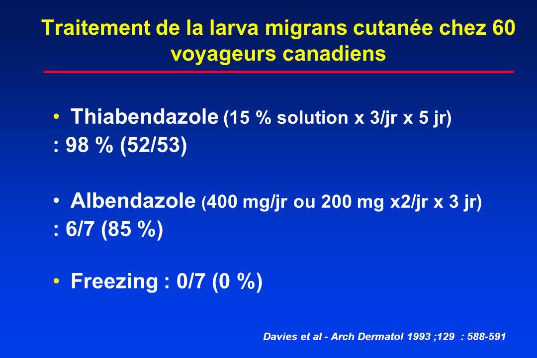 Traitement de la larva migrans cutanée chez 60 voyageurs canadiens Thiabendazole (15 % solution x 3/jr x 5 jr) : 98 % (52/53) Albendazole ( 400 mg/jr