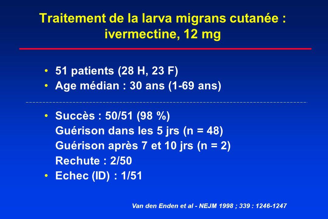 Traitement de la larva migrans cutanée : ivermectine, 12 mg 51 patients (28 H, 23 F) Age médian : 30 ans (1-69 ans) Succès : 50/51 (98 %) Guérison dan
