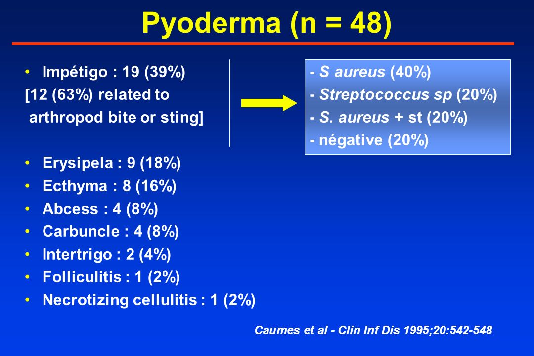 Pyoderma (n = 48) Impétigo : 19 (39%)- S aureus (40%) [12 (63%) related to- Streptococcus sp (20%) arthropod bite or sting]- S.