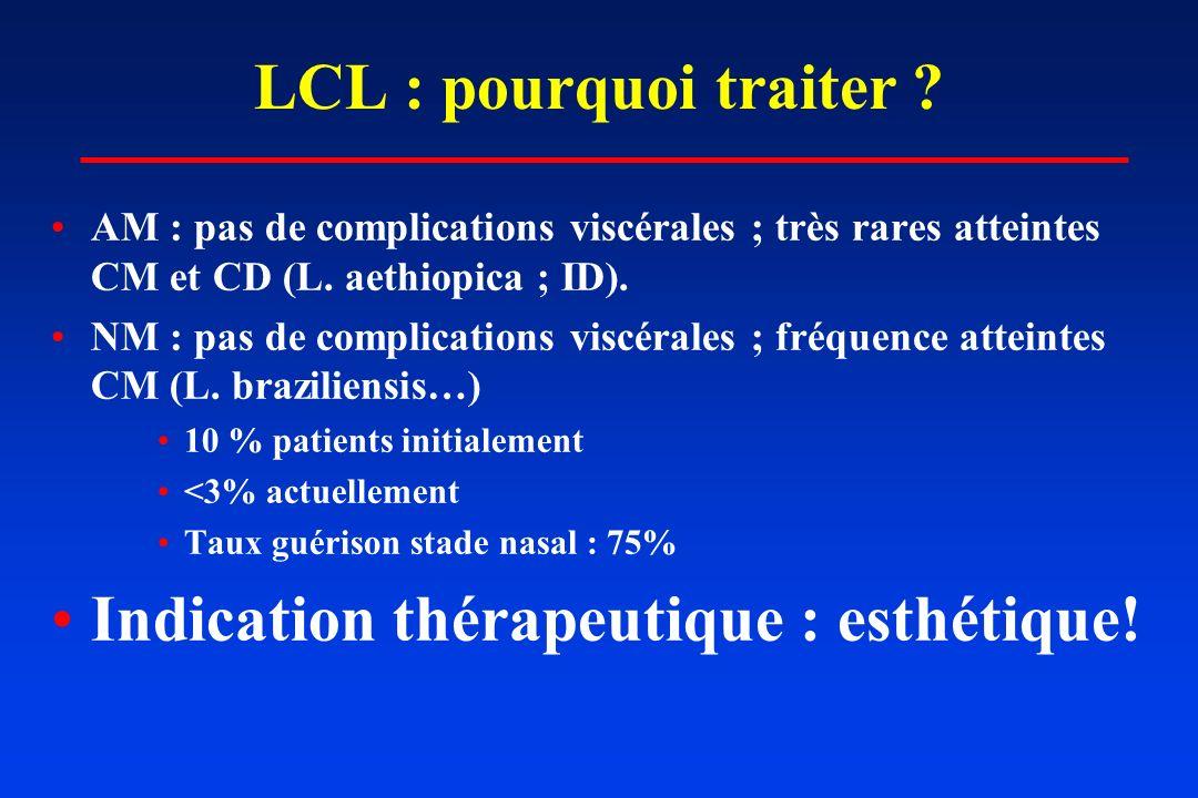 LCL : pourquoi traiter ? AM : pas de complications viscérales ; très rares atteintes CM et CD (L. aethiopica ; ID). NM : pas de complications viscéral
