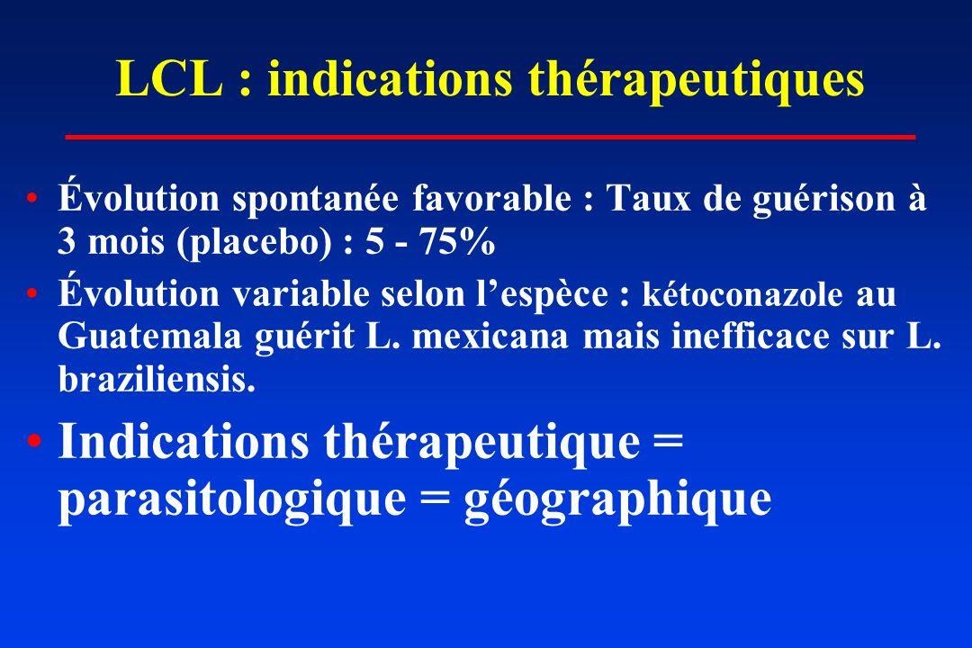 LCL : indications thérapeutiques Évolution spontanée favorable : Taux de guérison à 3 mois (placebo) : 5 - 75% Évolution variable selon lespèce : kéto