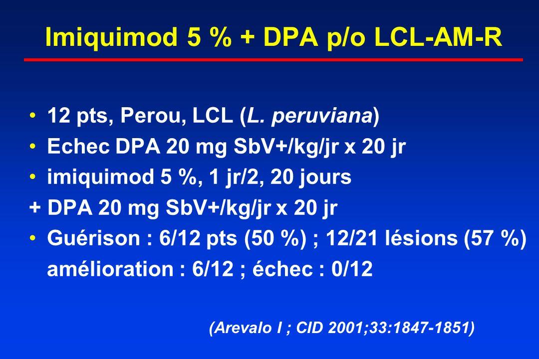 Imiquimod 5 % + DPA p/o LCL-AM-R 12 pts, Perou, LCL (L. peruviana) Echec DPA 20 mg SbV+/kg/jr x 20 jr imiquimod 5 %, 1 jr/2, 20 jours + DPA 20 mg SbV+