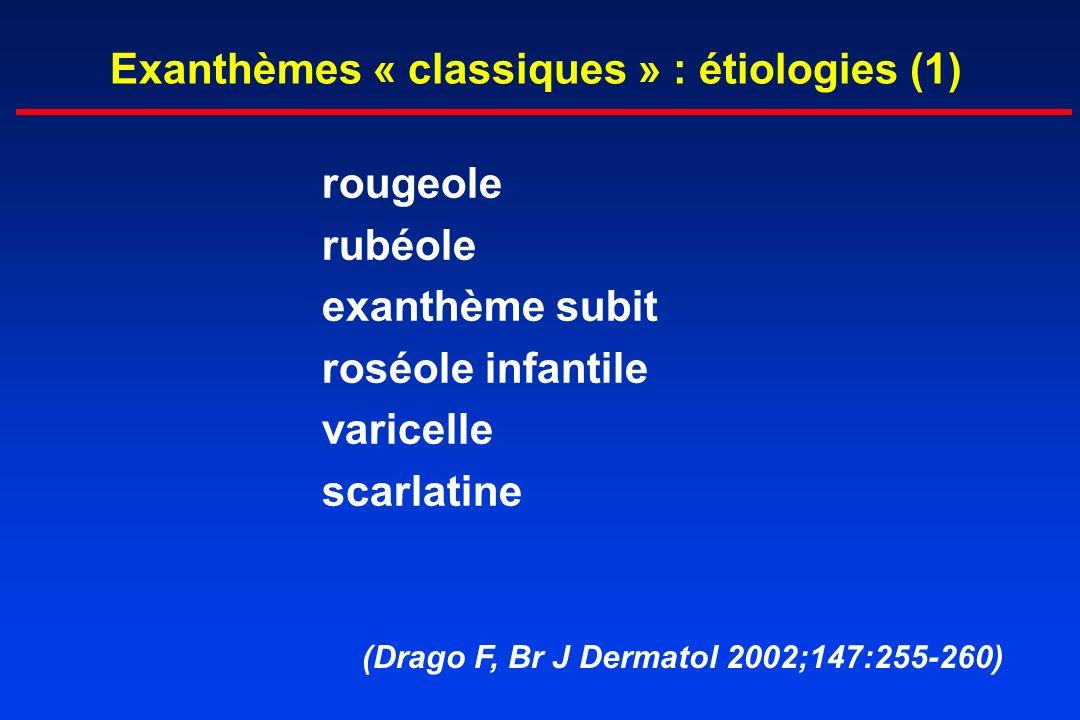 Exanthèmes « classiques » : étiologies (1) rougeole rubéole exanthème subit roséole infantile varicelle scarlatine (Drago F, Br J Dermatol 2002;147:25