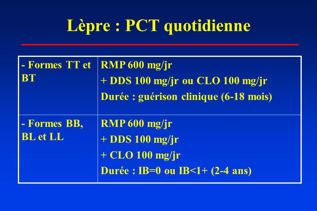 Lèpre : PCT quotidienne - Formes TT et BT RMP 600 mg/jr + DDS 100 mg/jr ou CLO 100 mg/jr Durée : guérison clinique (6-18 mois) - Formes BB, BL et LL R