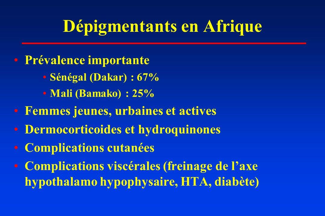 Dépigmentants en Afrique Prévalence importante Sénégal (Dakar) : 67% Mali (Bamako) : 25% Femmes jeunes, urbaines et actives Dermocorticoides et hydroq