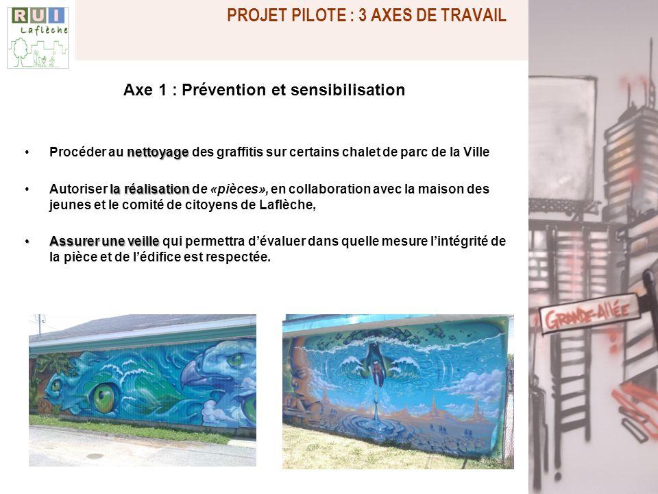 Axe 1 : Prévention et sensibilisation nettoyageProcéder au nettoyage des graffitis sur certains chalet de parc de la Ville la réalisationAutoriser la