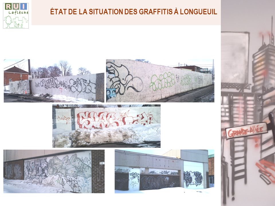 Nombre de dossiers de graffitis par municipalités/arrondissements avant projet pilote 2009 2010 Écart VIEUX-LONGUEUIL 39 32 -17.4 BOUCHERVILLE 12 12 0 SAINT-LAMBERT 13 17 + 30.8 LEMOYNE 4 6 +50.0 SAINT-HUBERT 56 64 +14.3 GREENFIELD PARK 25 30 +20.0 SAINT-BRUNO 6 7 +16.7 BROSSARD 48 56 +16.7 TOTAL (AGGLO) 203 224 +10.3 ÉTAT DE LA SITUATION DES GRAFFITIS À LONGUEUIL