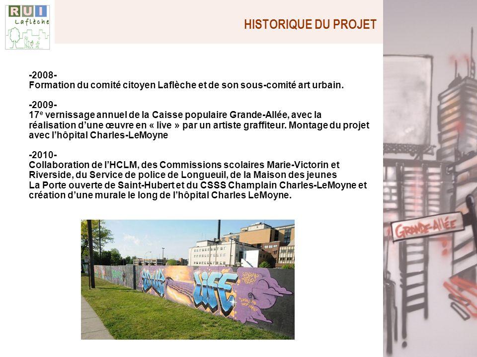 HISTORIQUE DU PROJET -2008- Formation du comité citoyen Laflèche et de son sous-comité art urbain. -2009- 17 e vernissage annuel de la Caisse populair