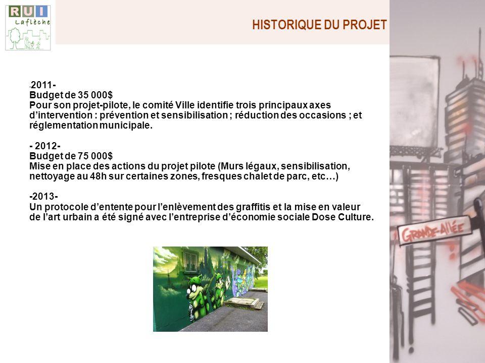 HISTORIQUE DU PROJET - 2011- Budget de 35 000$ Pour son projet-pilote, le comité Ville identifie trois principaux axes dintervention : prévention et s