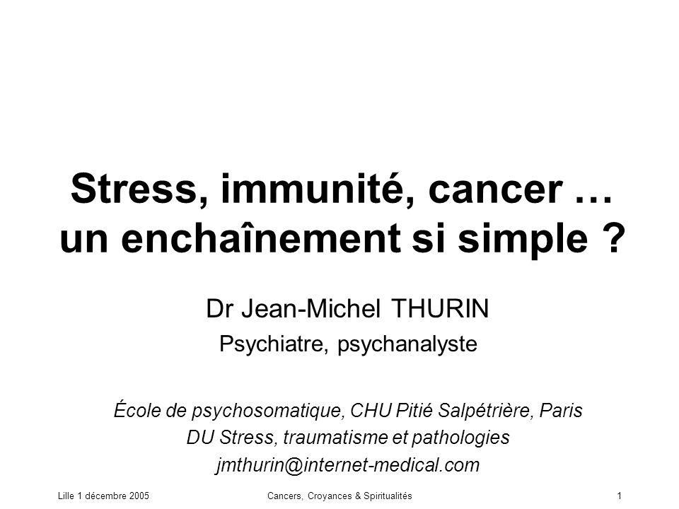 Lille 1 décembre 2005Cancers, Croyances & Spiritualités2 Résumé Le rôle des événements de vie, tels que le deuil, et plus généralement du stress est souvent invoqué comme cause du cancer.