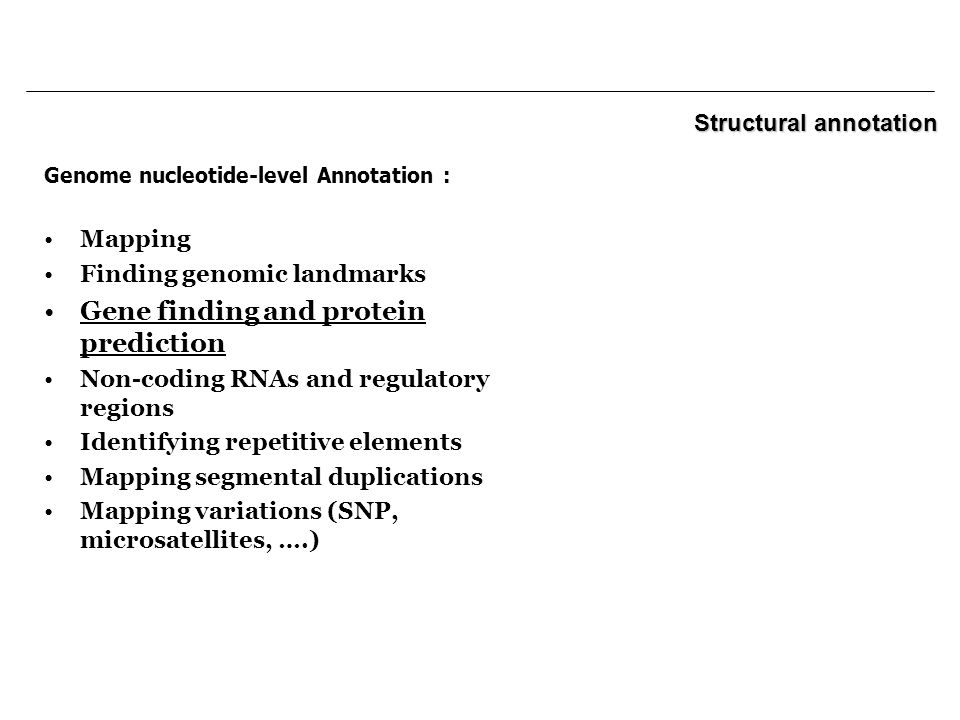Genome nucleotide-level Annotation : Mapping Finding genomic landmarks Gene finding and protein prediction Non-coding RNAs and regulatory regions Identifying repetitive elements Mapping segmental duplications Mapping variations (SNP, microsatellites, ….) Structural annotation