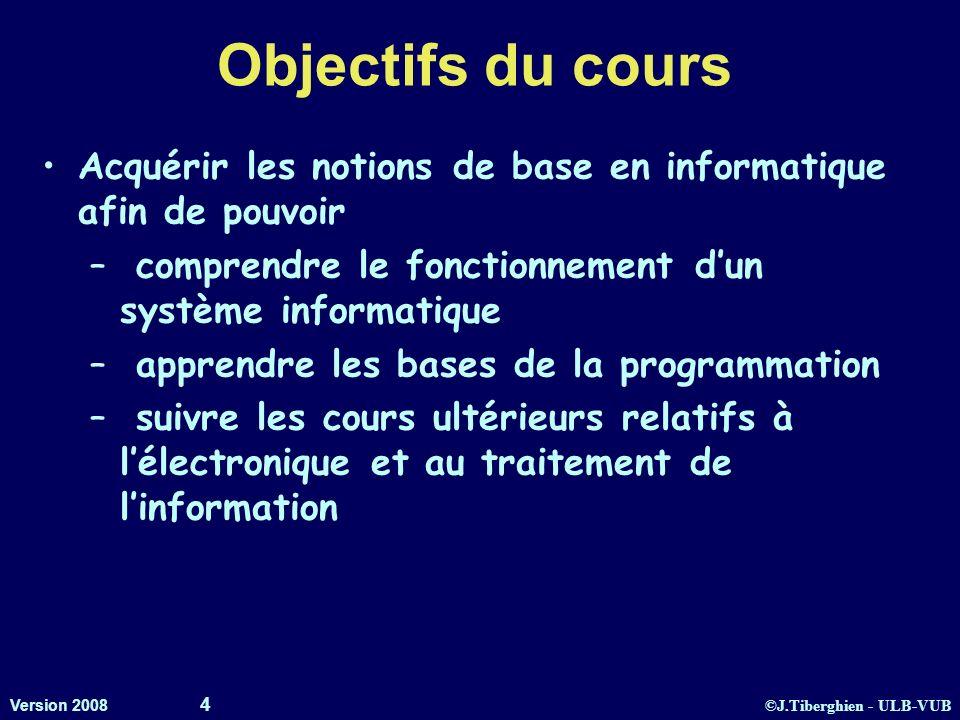 ©J.Tiberghien - ULB-VUB Version 2008 4 Objectifs du cours Acquérir les notions de base en informatique afin de pouvoir – comprendre le fonctionnement