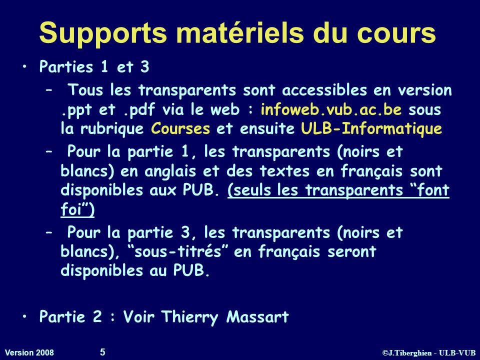 ©J.Tiberghien - ULB-VUB Version 2008 5 Supports matériels du cours Parties 1 et 3 – Tous les transparents sont accessibles en version.ppt et.pdf via l