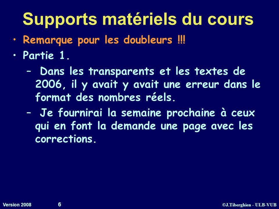 ©J.Tiberghien - ULB-VUB Version 2008 6 Supports matériels du cours Remarque pour les doubleurs !!! Partie 1. – Dans les transparents et les textes de