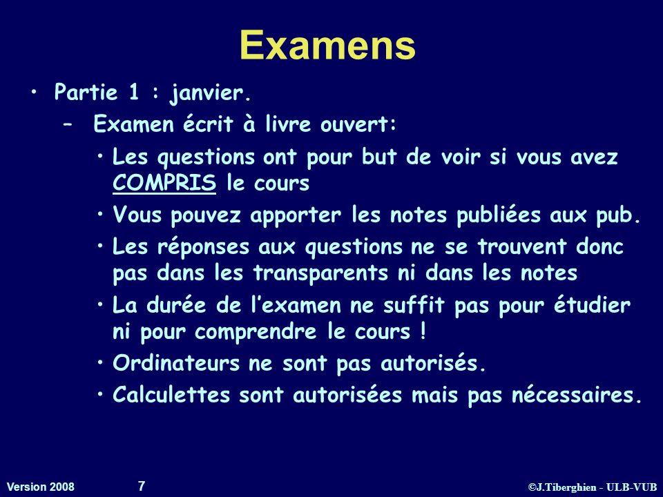 ©J.Tiberghien - ULB-VUB Version 2008 7 Examens Partie 1 : janvier. – Examen écrit à livre ouvert: Les questions ont pour but de voir si vous avez COMP