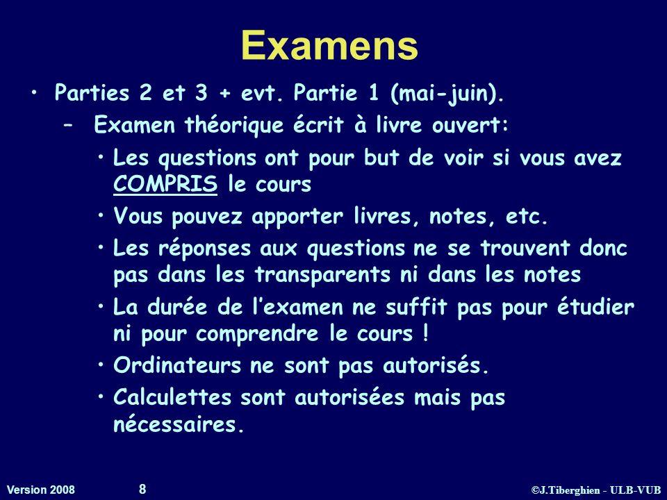 ©J.Tiberghien - ULB-VUB Version 2008 8 Examens Parties 2 et 3 + evt. Partie 1 (mai-juin). – Examen théorique écrit à livre ouvert: Les questions ont p