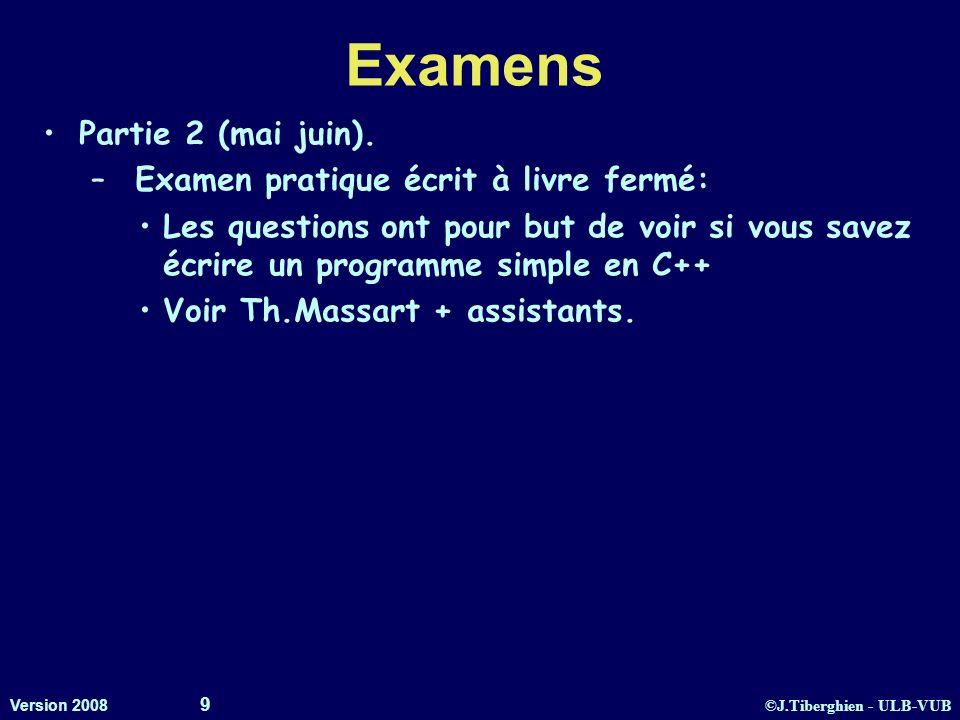 ©J.Tiberghien - ULB-VUB Version 2008 9 Examens Partie 2 (mai juin). – Examen pratique écrit à livre fermé: Les questions ont pour but de voir si vous