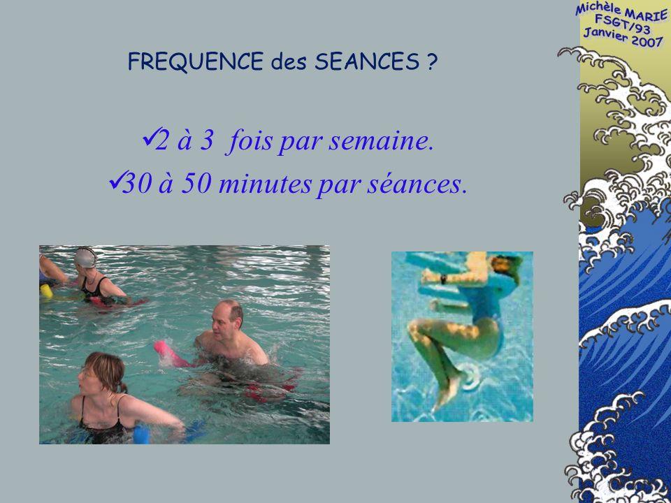 FREQUENCE des SEANCES 2 à 3 fois par semaine. 30 à 50 minutes par séances.