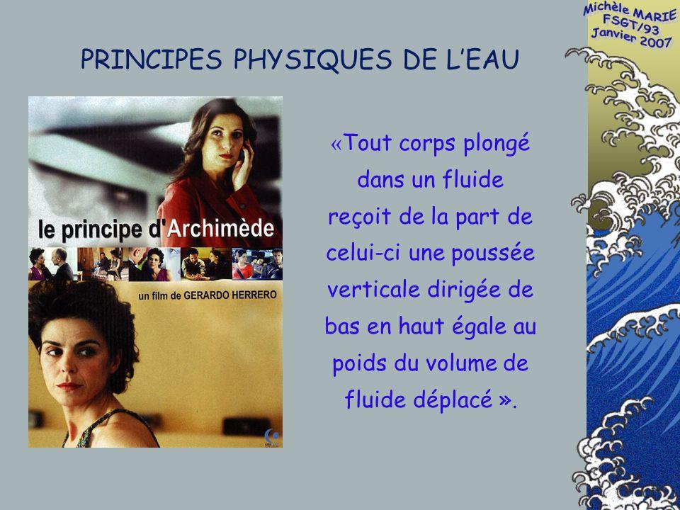 PRINCIPES PHYSIQUES DE LEAU « Tout corps plongé dans un fluide reçoit de la part de celui-ci une poussée verticale dirigée de bas en haut égale au poids du volume de fluide déplacé ».
