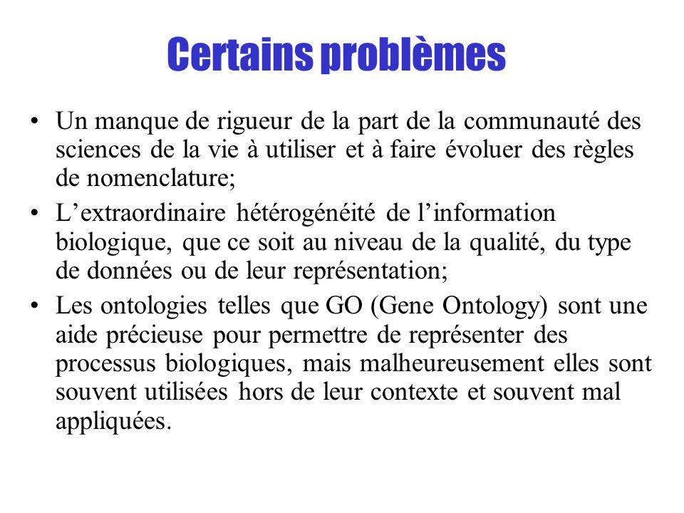 Certains problèmes Un manque de rigueur de la part de la communauté des sciences de la vie à utiliser et à faire évoluer des règles de nomenclature; L