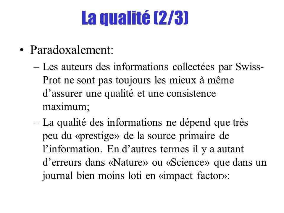 La qualité (2/3) Paradoxalement: –Les auteurs des informations collectées par Swiss- Prot ne sont pas toujours les mieux à même dassurer une qualité e