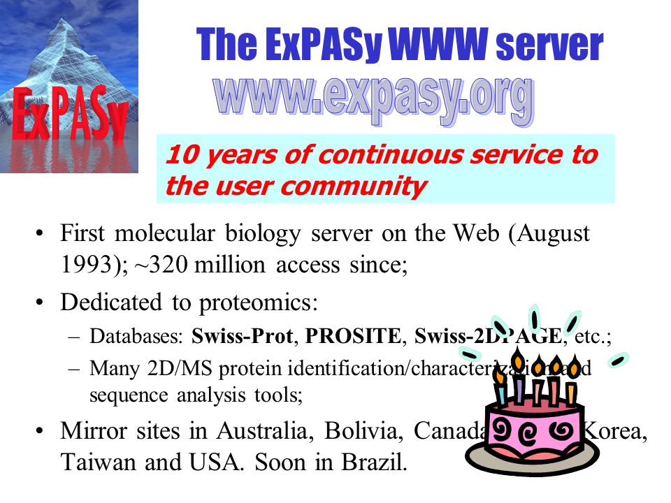 The ExPASy WWW server First molecular biology server on the Web (August 1993); ~320 million access since; Dedicated to proteomics: –Databases: Swiss-P