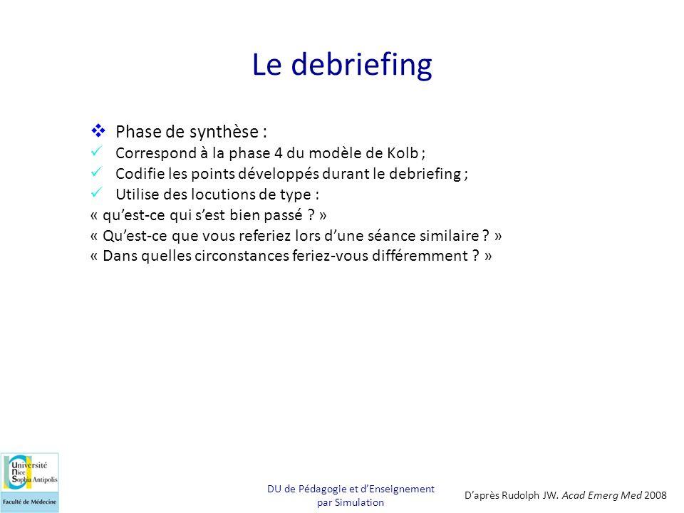 Le debriefing Phase de synthèse : Correspond à la phase 4 du modèle de Kolb ; Codifie les points développés durant le debriefing ; Utilise des locutio