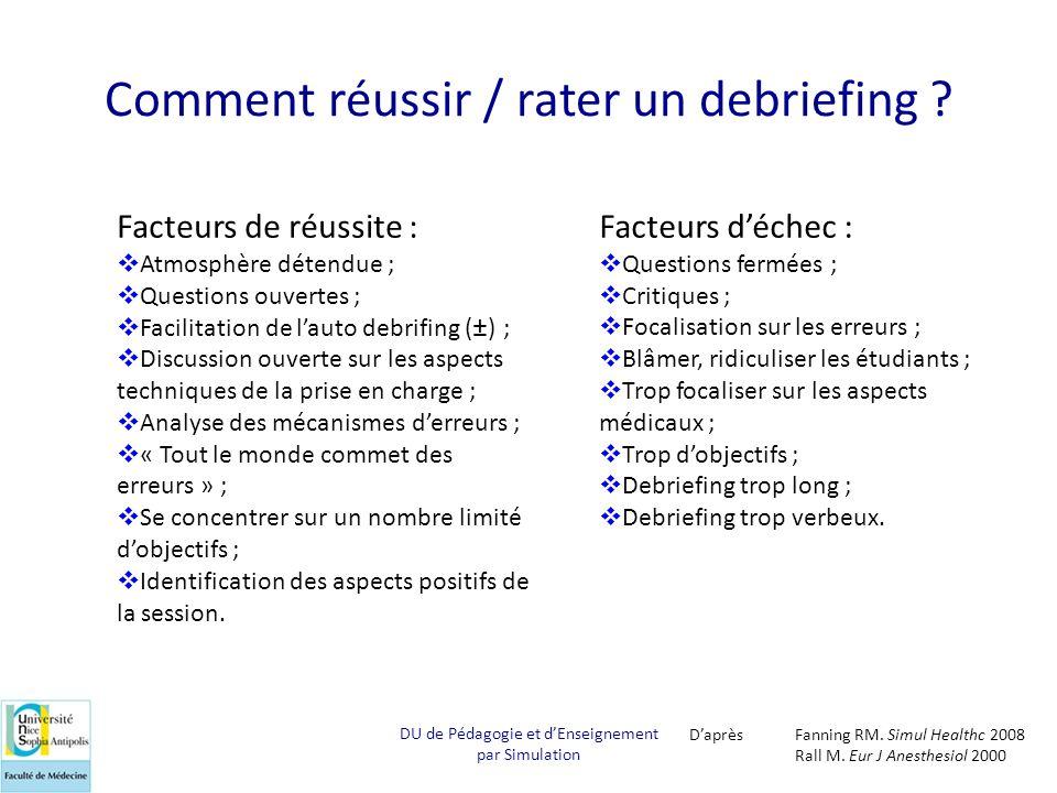 Comment réussir / rater un debriefing ? Facteurs de réussite : Atmosphère détendue ; Questions ouvertes ; Facilitation de lauto debrifing (±) ; Discus