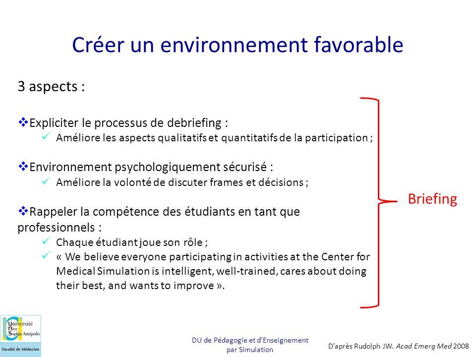 Créer un environnement favorable 3 aspects : Expliciter le processus de debriefing : Améliore les aspects qualitatifs et quantitatifs de la participat