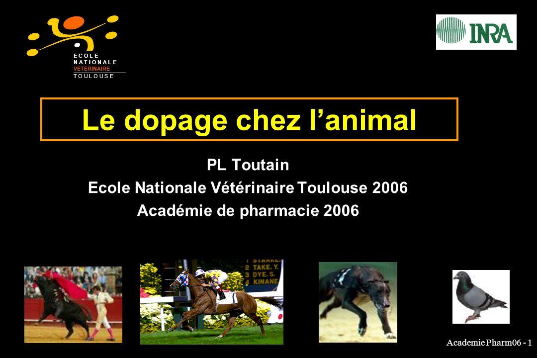 Academie Pharm06 - 1 Le dopage chez lanimal PL Toutain Ecole Nationale Vétérinaire Toulouse 2006 Académie de pharmacie 2006 E C O L E N A T I O N A L E VETERINAIRE T O U L O U S E