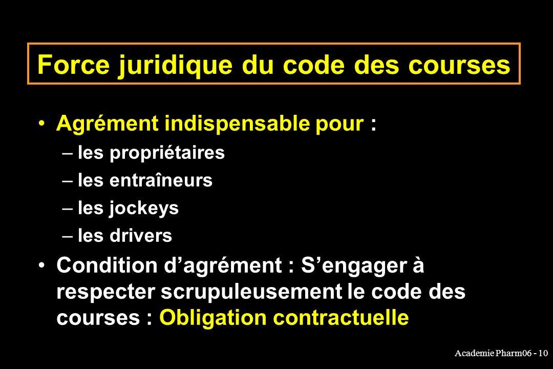Academie Pharm06 - 10 Force juridique du code des courses Agrément indispensable pour : –les propriétaires –les entraîneurs –les jockeys –les drivers