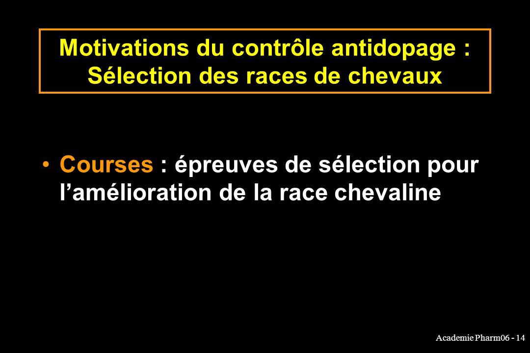 Academie Pharm06 - 14 Motivations du contrôle antidopage : Sélection des races de chevaux Courses : épreuves de sélection pour lamélioration de la rac
