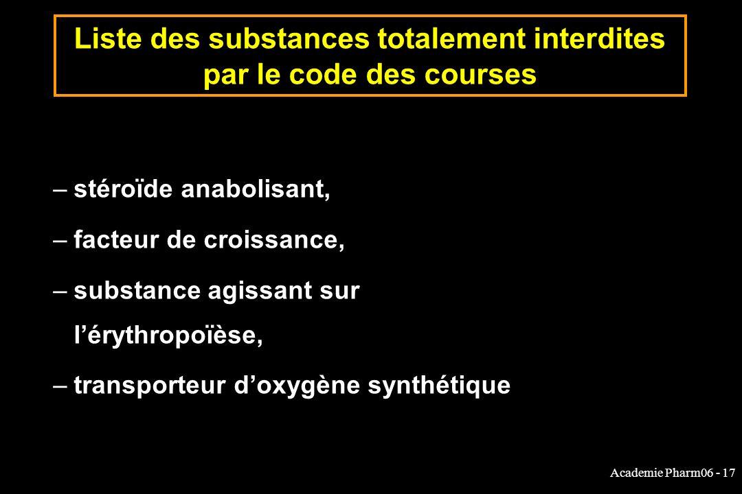Academie Pharm06 - 17 Liste des substances totalement interdites par le code des courses –stéroïde anabolisant, –facteur de croissance, –substance agissant sur lérythropoïèse, –transporteur doxygène synthétique