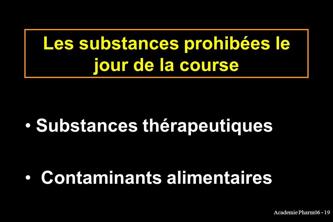 Academie Pharm06 - 19 Les substances prohibées le jour de la course Substances thérapeutiques Contaminants alimentaires
