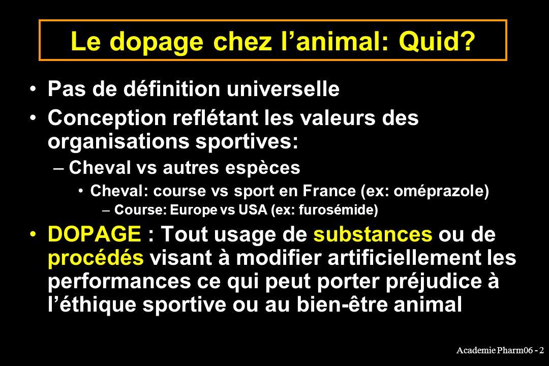 Academie Pharm06 - 2 Le dopage chez lanimal: Quid.