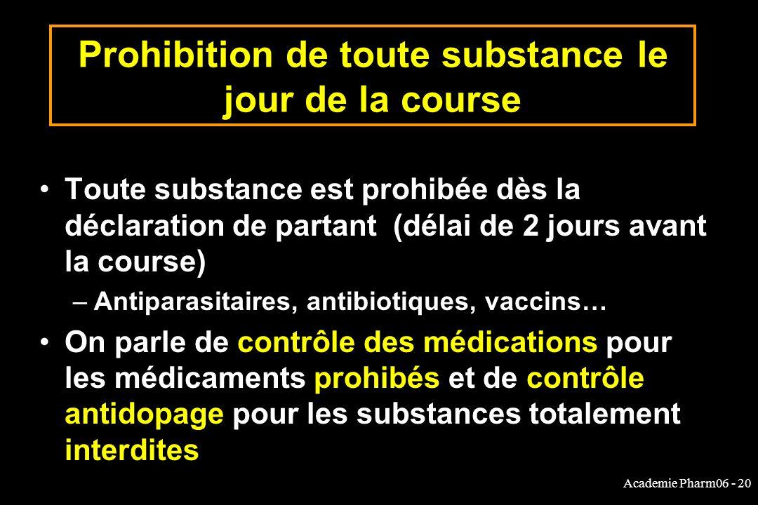 Academie Pharm06 - 20 Prohibition de toute substance le jour de la course Toute substance est prohibée dès la déclaration de partant (délai de 2 jours