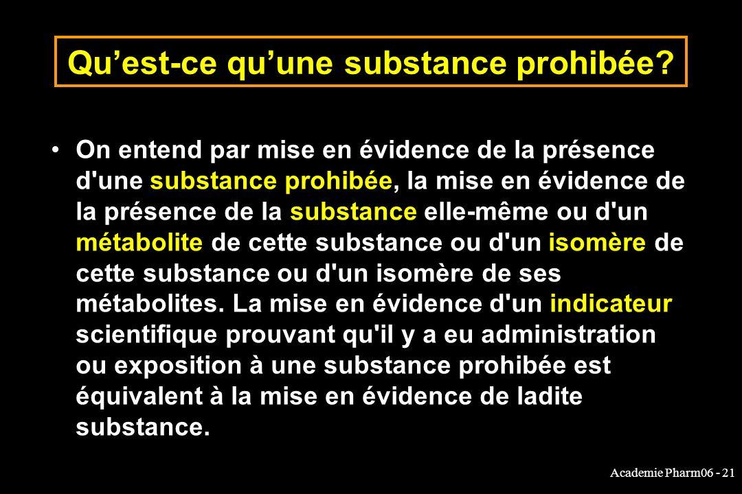 Academie Pharm06 - 21 Quest-ce quune substance prohibée? On entend par mise en évidence de la présence d'une substance prohibée, la mise en évidence d