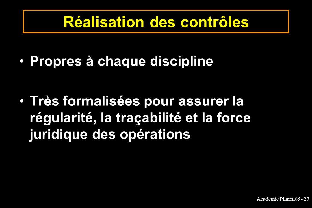 Academie Pharm06 - 27 Réalisation des contrôles Propres à chaque discipline Très formalisées pour assurer la régularité, la traçabilité et la force ju