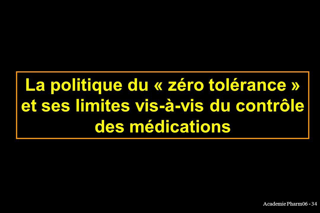 Academie Pharm06 - 34 La politique du « zéro tolérance » et ses limites vis-à-vis du contrôle des médications