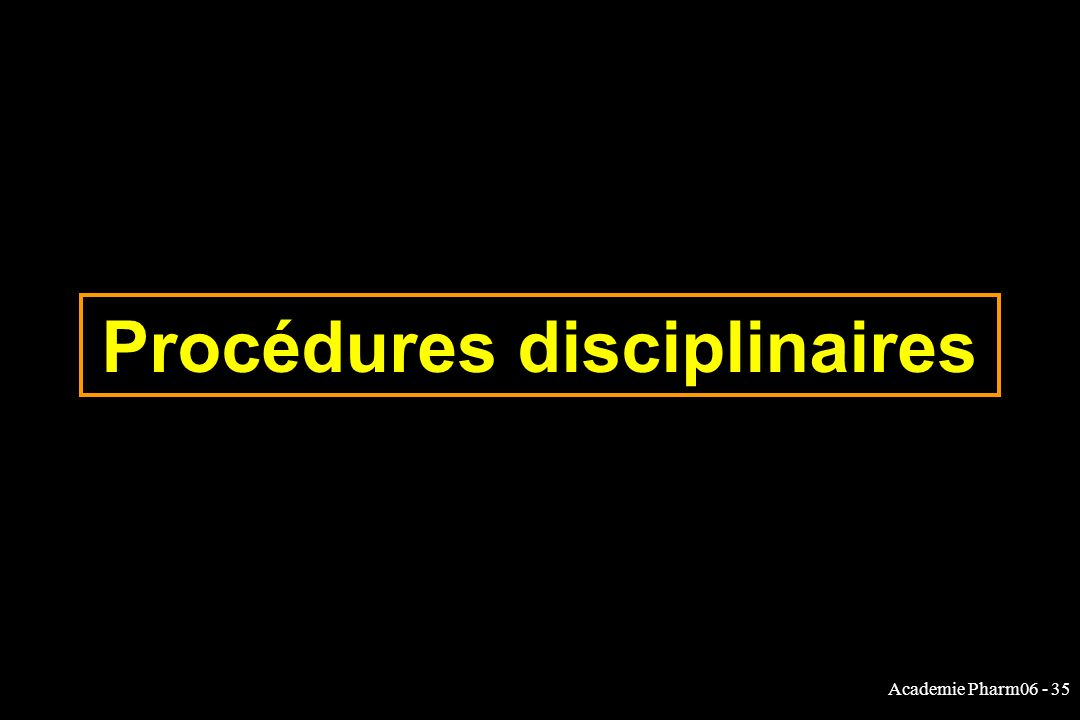 Academie Pharm06 - 35 Procédures disciplinaires