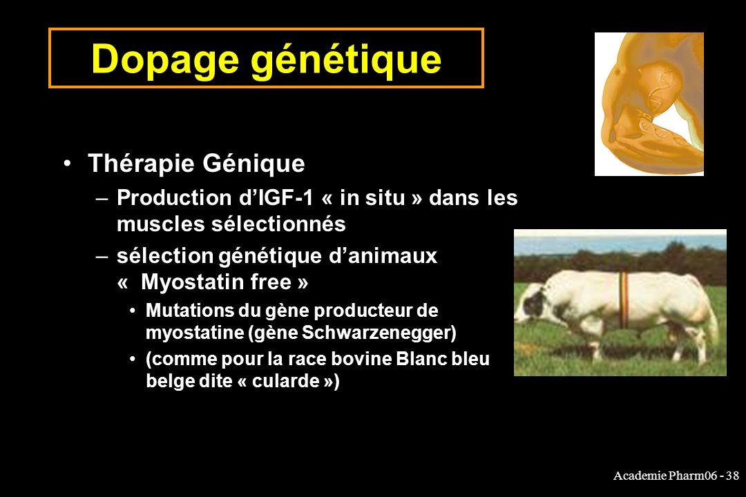 Academie Pharm06 - 38 Dopage génétique Thérapie Génique –Production dIGF-1 « in situ » dans les muscles sélectionnés –sélection génétique danimaux « Myostatin free » Mutations du gène producteur de myostatine (gène Schwarzenegger) (comme pour la race bovine Blanc bleu belge dite « cularde »)