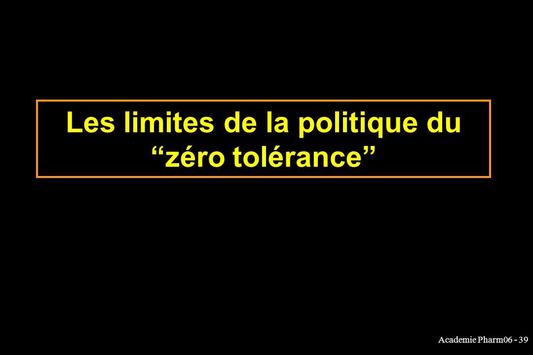 Academie Pharm06 - 39 Les limites de la politique du zéro tolérance