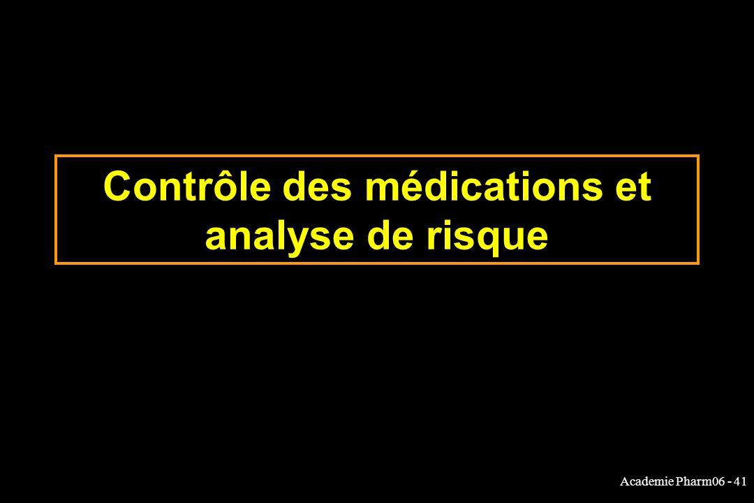 Academie Pharm06 - 41 Contrôle des médications et analyse de risque